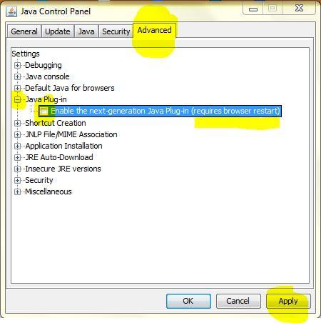 screenshot of Java 7 update 10 control panel