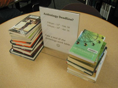 anthology table in the library