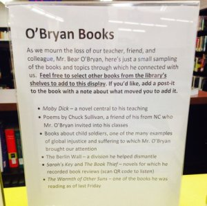 Sign about book display