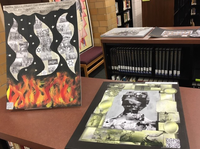 two student collages in response to Elie Wiesel's Night