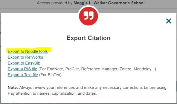 selecting Export to NoodleTools in JSTOR
