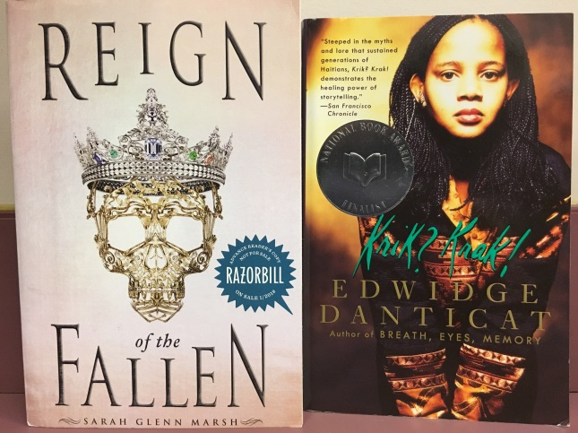 two book covers: Reign of the Fallen and Krik? Krak!