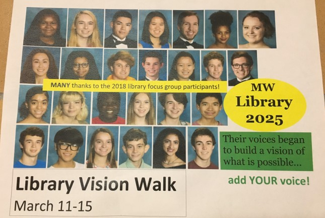 photo of flier showing 2018 library focus group participants and promoting the Library 2025 Vision Walk, March 11 through 15