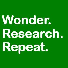 white text on green background: Wonder.Research.Repeat.