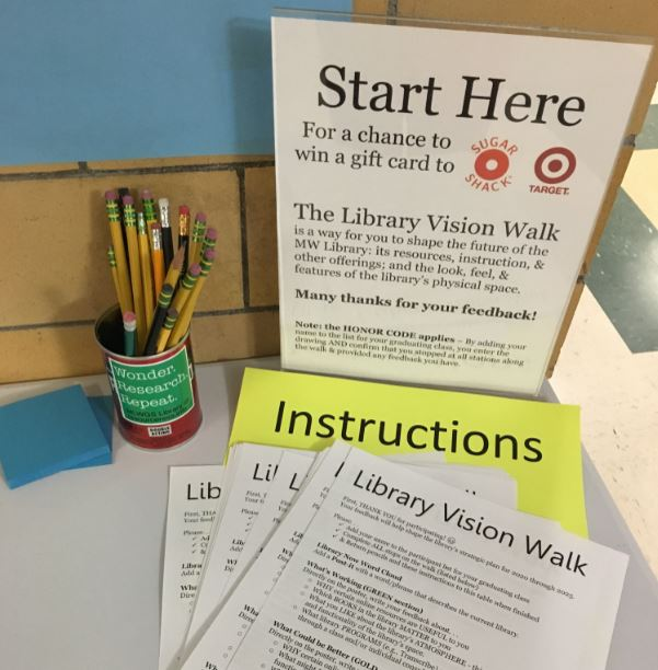 """close up of """"start here"""" sign showing pencil cup, post-it pad, and Library Vision Walk instruction sheets"""