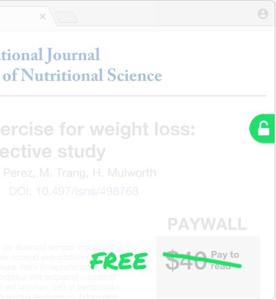 Image from Unpaywall showing science article for purchase with price marked out and FREE written over it.