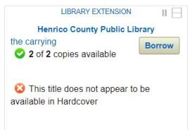 "screenshot of Library Extension as displayed on Amazon.com for Henrico County Public Library, showing ""the carrying"" - 2 of 2 copies available"