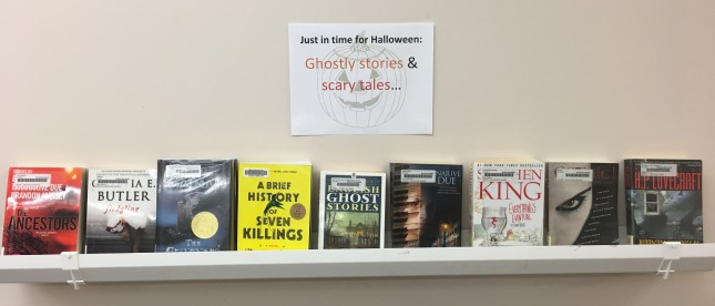 book display of ghostly stories and scary tales