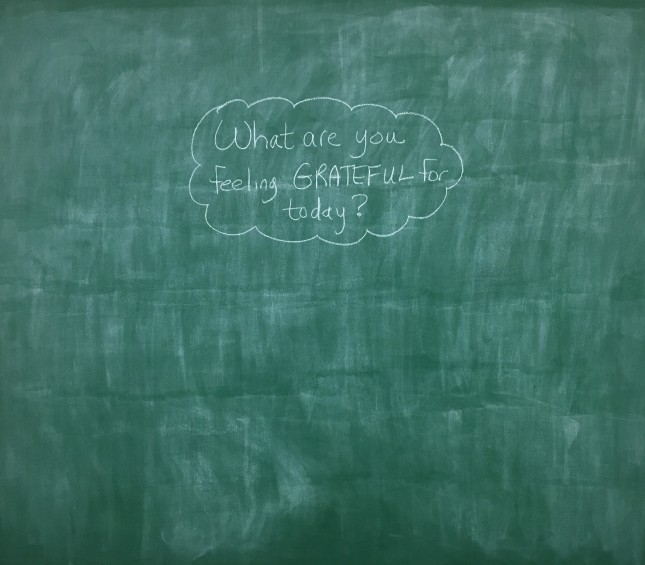 "Photo of green chalkboard wall with question ""What are you feeling GRATEFUL for today?"""